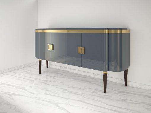 Hochglanz Design Sideboard in Hell-Anthrazit, Lack, High End, Luxusmoebel, Aufbewahrung, Buffet, Schrank, Wohnzimmerschrank