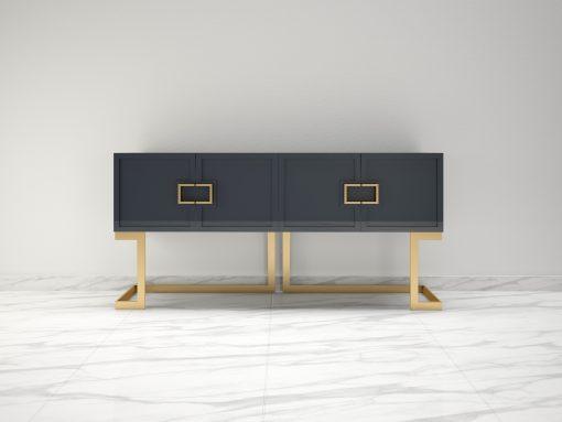 Graues Design Sideboard Buffet mit polierten Messing-Beinen, moderne Moebel, Design Moebel, Luxus Mobel, Wohnzimmerschrank, Hochglanz