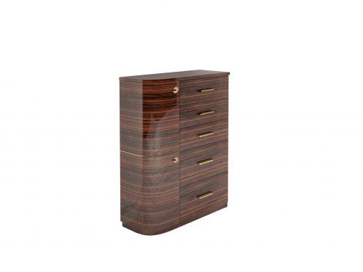 Design Makassar Schubladen Kommode mit Messinggriffen, Design Moebel, Individualisierbar, Hochglanz, Moebel, Luxus, Innendesign