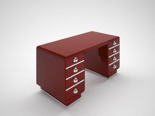 rot, design, schreibtisch, chrom, akzente, hochglanz, individualisierbar, änderbar, art, deco, style, stil, nachbau, feuerrot
