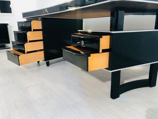 1950er Bauhaus Design Schreibtisch in Hochglanz-Schwarz, Bauhaus Möbel, Innendesign, Luxusmöbel, Büro, High End Büro Möbel, Bauhaus Design