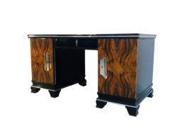 1920er Art Deco Schreibtisch mit Walnuss Front, Art Deco Möbel, 1920er Jahre, Walnuss-Wurzelholz, Hochglanz-Möbel, luxusmöbel, Design