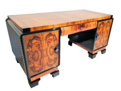 Walnuss Wurzelholz Schreibtisch aus der Art Deco Ära, Art Deco Moebel, Design Moebel, Restauration, Luxus Schreibtische, Antiquitaeten