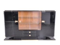 Art Deco Highboard Messinggriffe 1930er Jahre, Art Deco Sideboard, Vitrinenfach, Luxus-Moebel, Restauration, Messing, Antiquitäten, Klavierlack