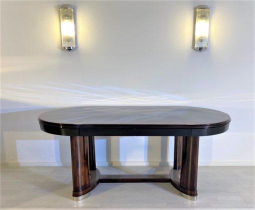 Ovaler Art Deco Esstisch Makassar und Klavierlack, Esstische, Art Deco Design, Ovale Esstische, Art Deco Möbel, Wohnzimmer Tische