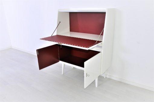 Sekretär, 50er Jahre Möbel, Chromdetails, Weiss, Hochglanz, rotes Leder, Klappensekretär, Vintage, Rockabilly, Schubkästen, Stelzenfuss